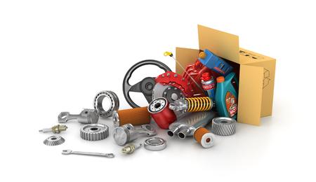 Foto de Auto parts in the cardboard boxes. Automotive basket shop. Auto parts store. - Imagen libre de derechos