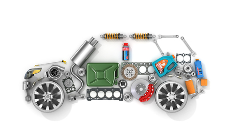 Foto de Auto parts in form of car . To use in the advertising of spare parts for passenger and sports cars. - Imagen libre de derechos