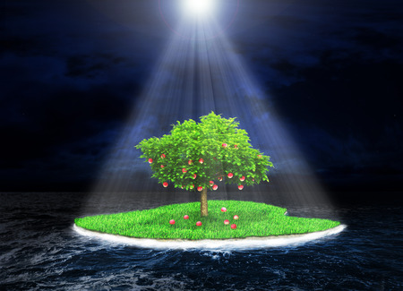 Foto de Concept of the promised land. Paradise island with a fruitful tree in the dark storm ocean background. Island incident light rays. Religion - Imagen libre de derechos