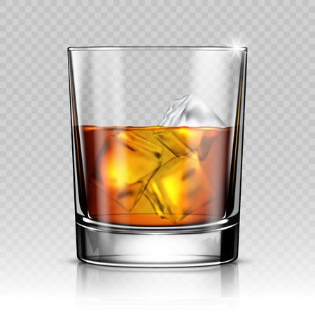 Illustration pour Glass of whiskey with ice isolated on transparent background - image libre de droit
