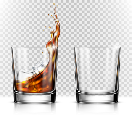 Illustration pour Empty and full whiskey glass with ice cubes - image libre de droit