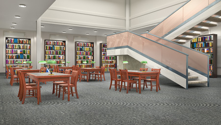 Reading hall interior. 3D illustration