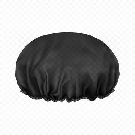 Ilustración de Vector. Mock Up. Black transparent Shower cap. Front side. - Imagen libre de derechos
