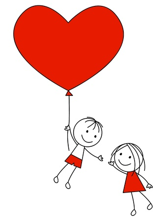 Photo pour Cute couple with heart balloon - image libre de droit