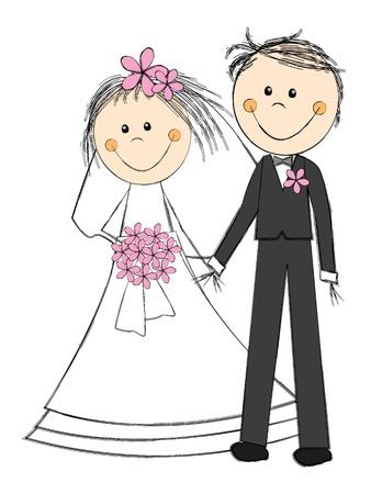 Photo pour Happy wedding couple on white - image libre de droit