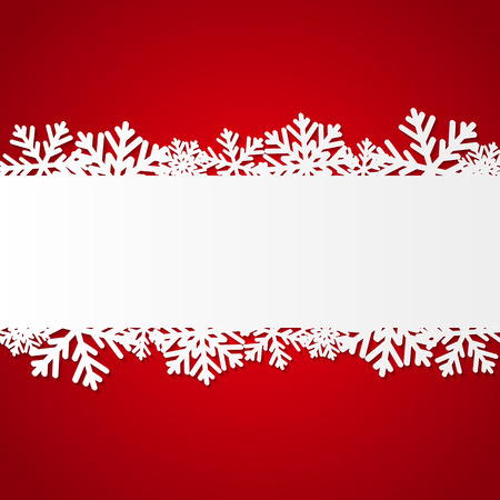 Illustration for Red Christmas background with paper snowflakes - Royalty Free Image