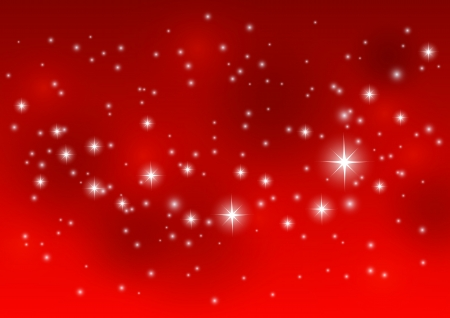 Illustration pour Shiny starry lights on red background - image libre de droit