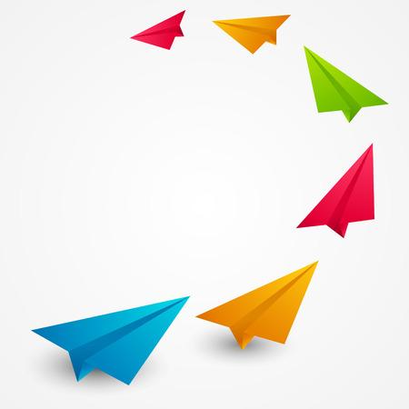 Ilustración de Color paper airplanes - vector illustration - Imagen libre de derechos