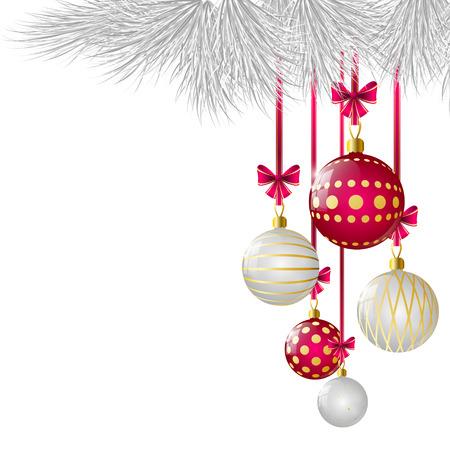 Ilustración de Christmas card with glossy balls - Imagen libre de derechos
