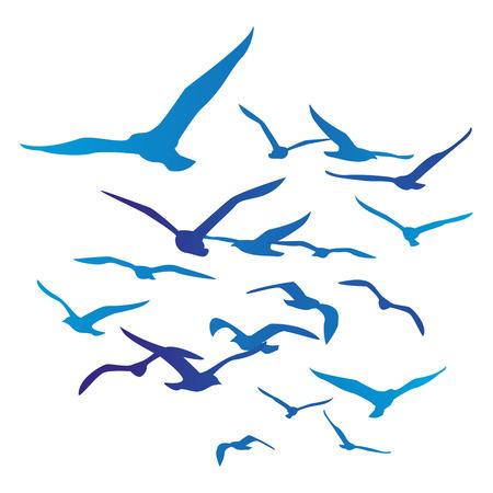 Illustration pour  Birds silhouettes isolated on white - image libre de droit