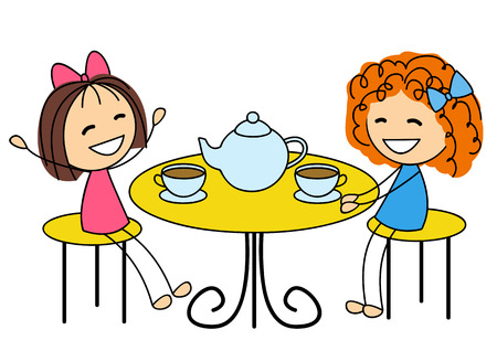 Illustration pour Cute little girls drinking tea - image libre de droit