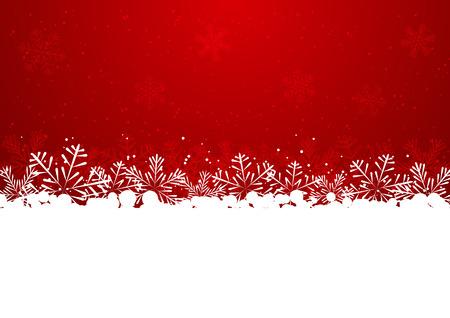 Ilustración de Christmas snowflake border on red - Imagen libre de derechos