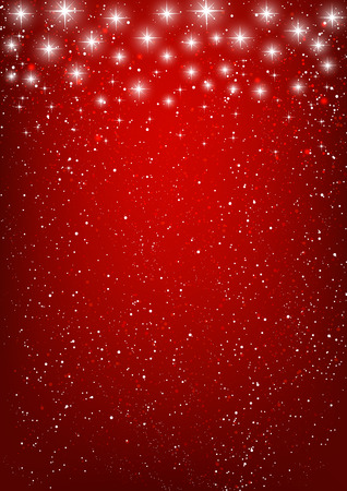 Illustration for Shiny stars on red background - Royalty Free Image