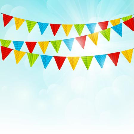Illustration pour Color party flags on sunny background - image libre de droit