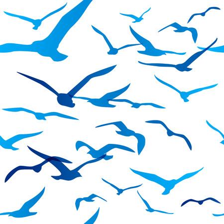 Illustration pour Seamless pattern with birds silhouettes - image libre de droit