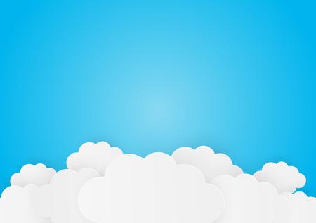 Ilustración de Paper clouds on blue background - Imagen libre de derechos