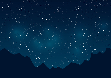 Illustration for Mountains silhouettes on starry sky background - Royalty Free Image