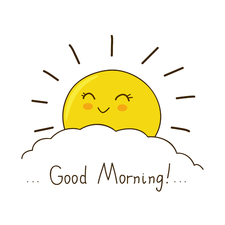 Illustration for Happy sun wishes you good morning - Royalty Free Image