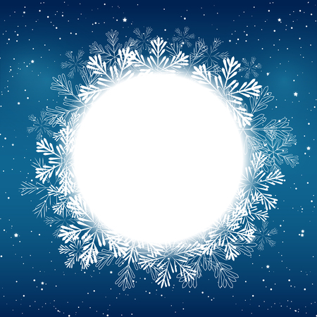 Illustration for Christmas snowflakes round frame for Your design - Royalty Free Image