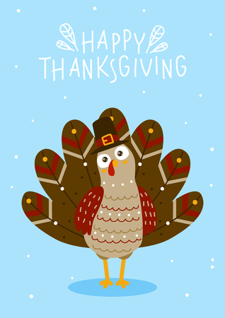 Ilustración de Thanksgiving greeting card with cute turkey - Imagen libre de derechos