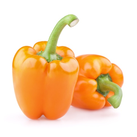 Photo pour Two orange peppers isolated on white - image libre de droit