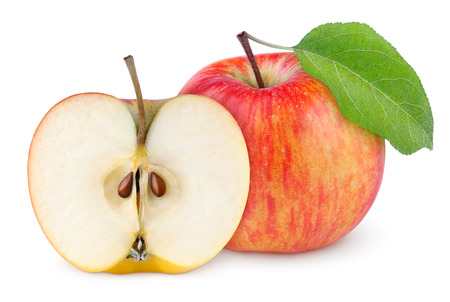 Photo pour Red yellow apple with green leaf and half isolated on white background - image libre de droit