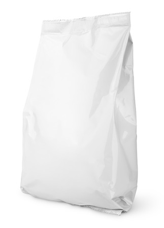 Foto de Blank Snack bag package isolated on white with clipping path - Imagen libre de derechos