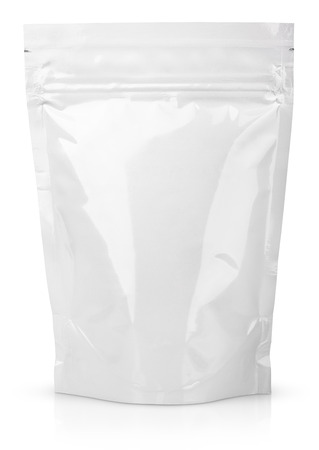 Foto de Blank Foil Food Or Drink Bag Packaging with valve and seal isolated on white - Imagen libre de derechos