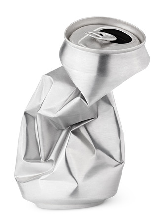 Foto de Crumpled empty blank beer can garbage isolated on white background with clipping path - Imagen libre de derechos