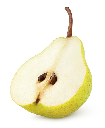 Photo pour Half of yellow pear fruit isolated on white with clipping path - image libre de droit