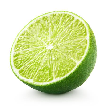 Foto de Half of lime citrus fruit isolated on white background with clipping path - Imagen libre de derechos
