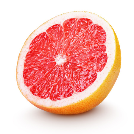 Photo pour Half grapefruit citrus fruit isolated on white with clipping path - image libre de droit