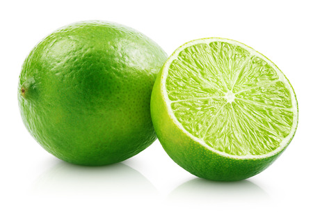 Photo for Fresh lime citrus fruit and slice isolated on white background with clipping path - Royalty Free Image