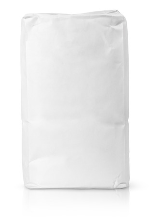 Foto de Blank paper bag package of flour isolated on white with clipping path - Imagen libre de derechos