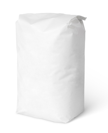 Foto de Blank paper bag package of salt isolated on white with clipping path - Imagen libre de derechos