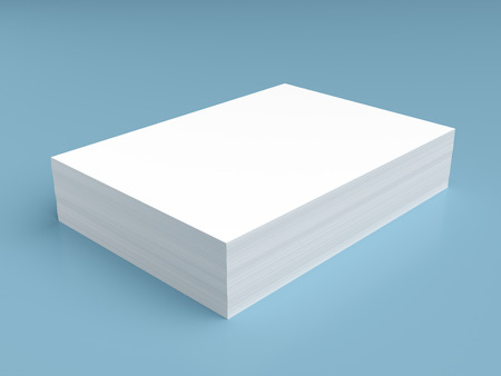 Photo pour Stack of white paper on blue background - image libre de droit
