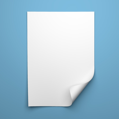 Photo for Blank empty sheet of white paper with curled corner on blue background - Royalty Free Image