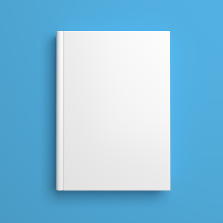 Foto de Top view of white blank book cover on blue background with shadow - Imagen libre de derechos