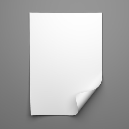 Photo pour Blank empty sheet of white paper with curled corner on grey background - image libre de droit
