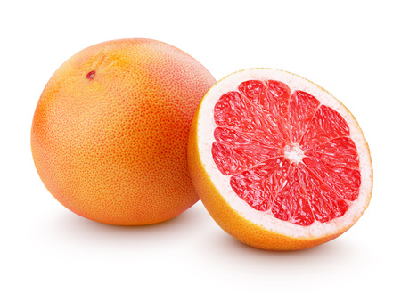 Photo for Grapefruit citrus fruit with half isolated on white with clipping path - Royalty Free Image