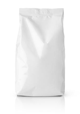Foto de Front view of blank snack paper bag package isolated on white - Imagen libre de derechos