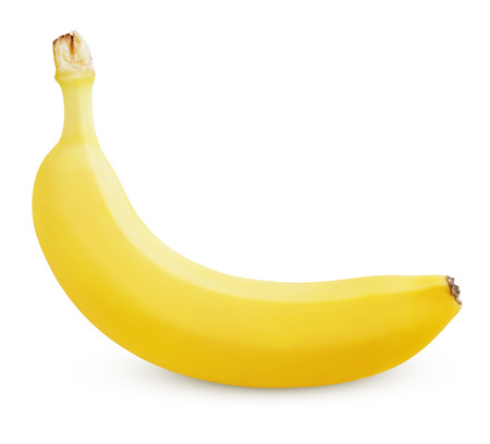 Photo pour Single ripe yellow banana isolated on white background - image libre de droit