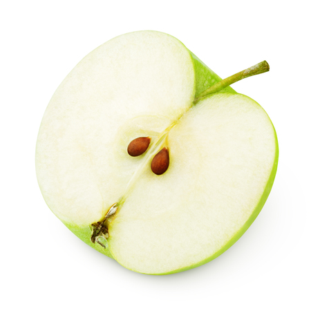 Foto per Half of ripe green apple isolated on white - Immagine Royalty Free