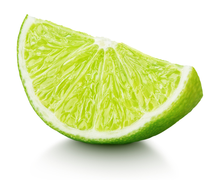 Photo for Ripe slice of green lime citrus fruit isolated on white background - Royalty Free Image