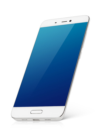 Foto de Modern white smartphone with blue emty screen stands isolated on white background. Smart phone with clipping path - Imagen libre de derechos