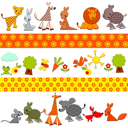animals background. set of bright colored animals. Vector illustration.