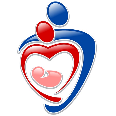 Illustration for icon person - symbol family holding hands in the shape of a heart - Royalty Free Image