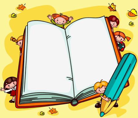 Photo pour school background with children - an open book  Place for text - image libre de droit