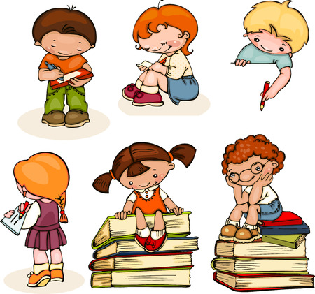 Foto de set school  kids read books, write and draw - Imagen libre de derechos