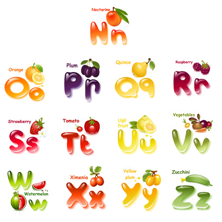 Alphabet. English capital and uppercase letter with  fruits. part 2